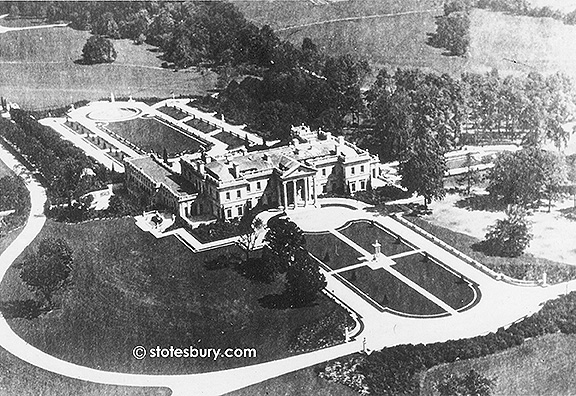 Aerial View of the Front of Whitemarsh Hall circa 1920